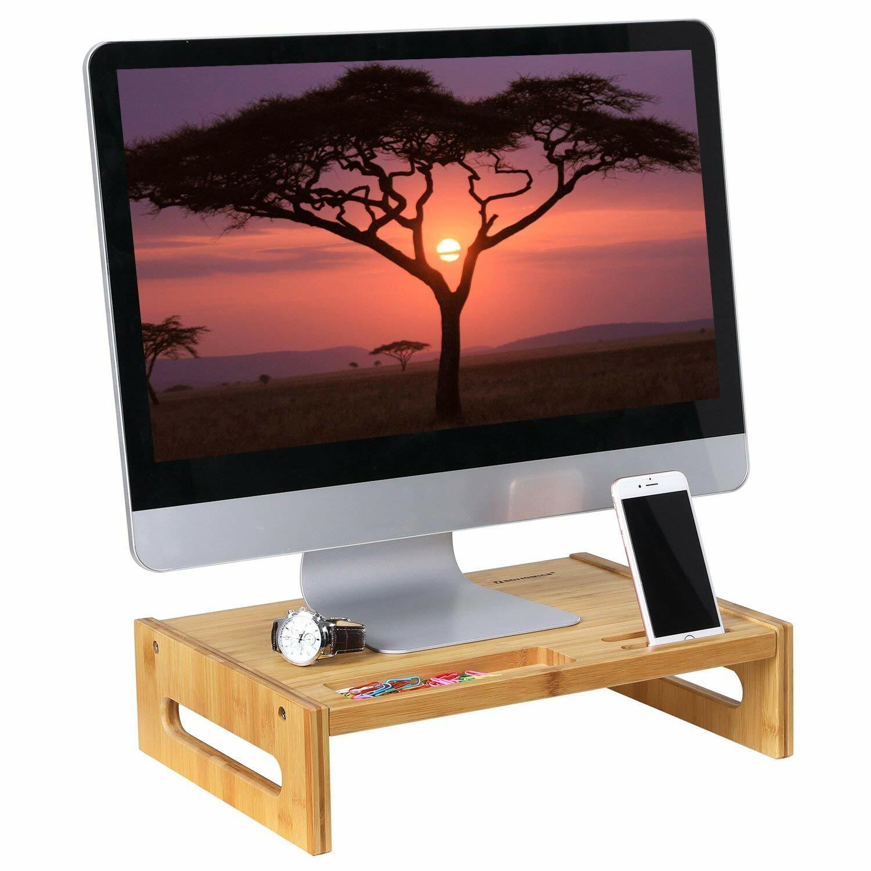 Songmics Bamboo Monitor Stand Desktop Riser Desk Organizer Wayfair