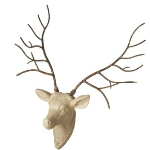 Stag Wall Mount With Iron Antlers Wall Décor
