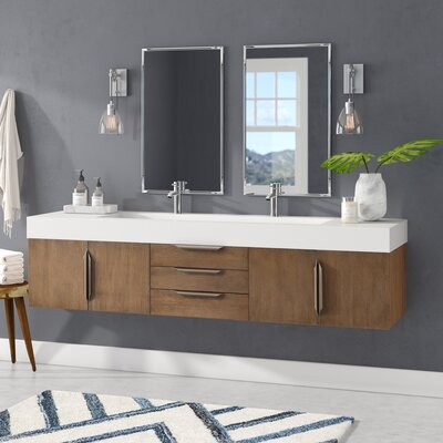 Brayden Studio Hukill 72 Wall-Mounted Double Bathroom Vanity Set Base Finish: Latte Oak