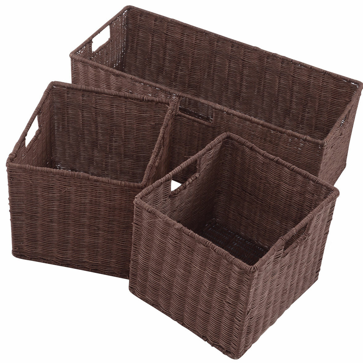 Gracie Oaks Storage Nesting Cube 3 Piece Wicker Rattan Basket Set Wayfair
