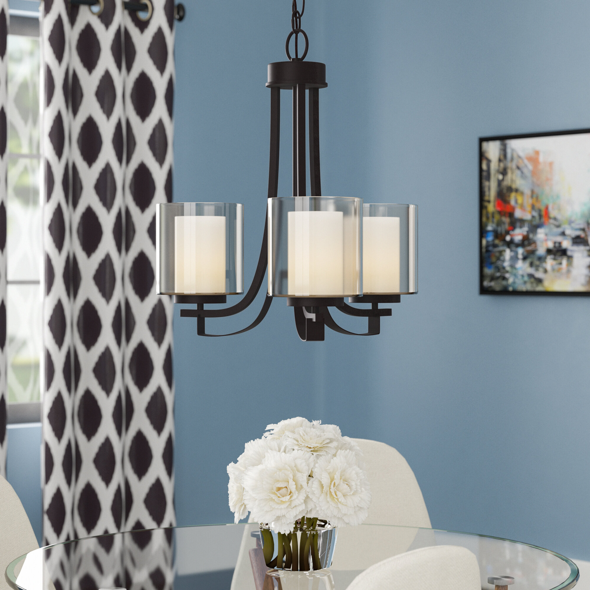 Mercury Row Bensenville 3-Light Shaded Candle-Style Chandelier ...