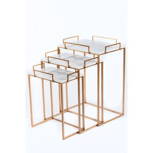 Set/3 Gold Nesting Tables by Statements by J