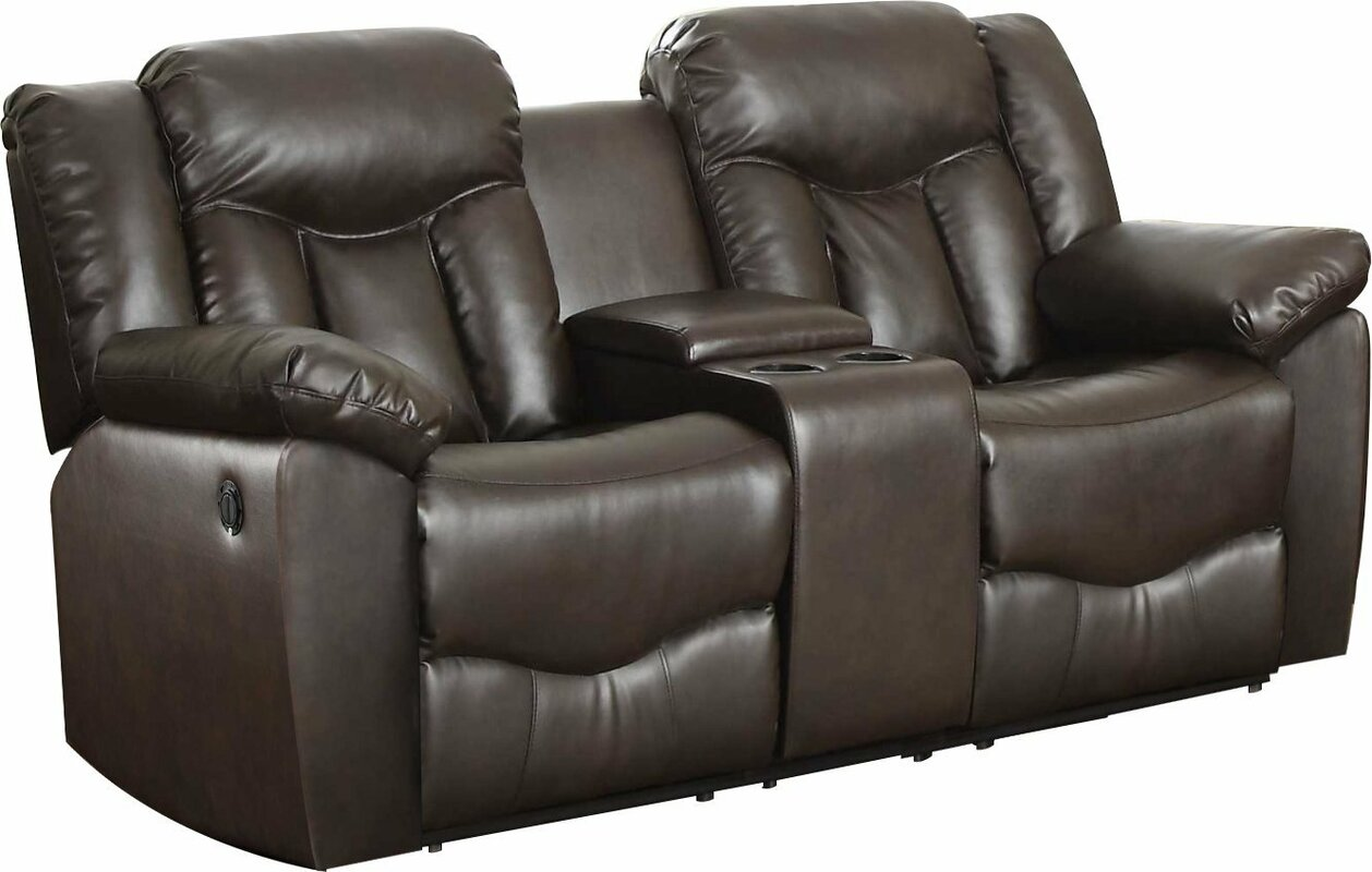 Recliner Sofa With Console Kayde Console Recliner Sofa