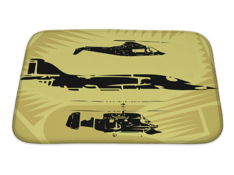 Aircraft Aeroplane Fighter Plane And Helicopter Flying In The Sky Bath Rug