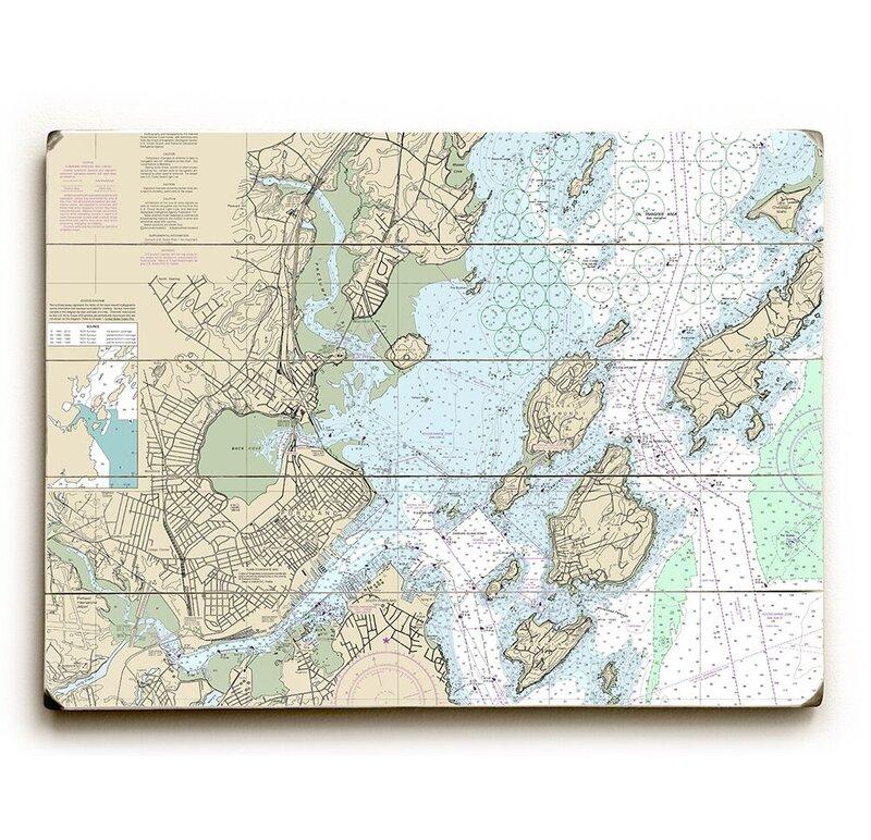 Longshore Tides Me Portland Me Nautical Chart Sign Graphic Art