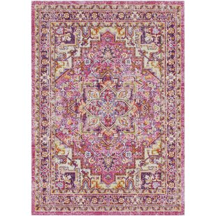 Kahina Traditional Vintage Distressed Oriental Rectangle Pink Area Rug