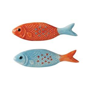 2 Piece Ceramic Fish Novelty Knob Set