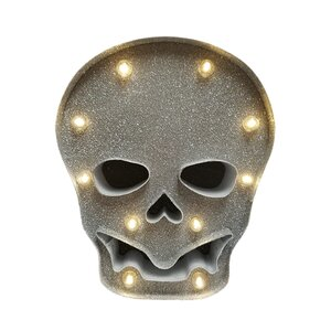 Battery Operated LED Metal Skull 10 Light Lighting Accessory