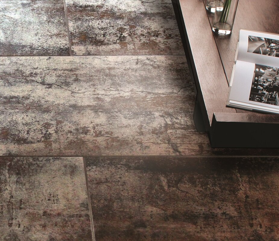 Get Industrial With Metal Look Porcelain Tile