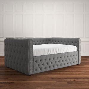 Scribner Button Tufted Linen Daybed by Three Posts