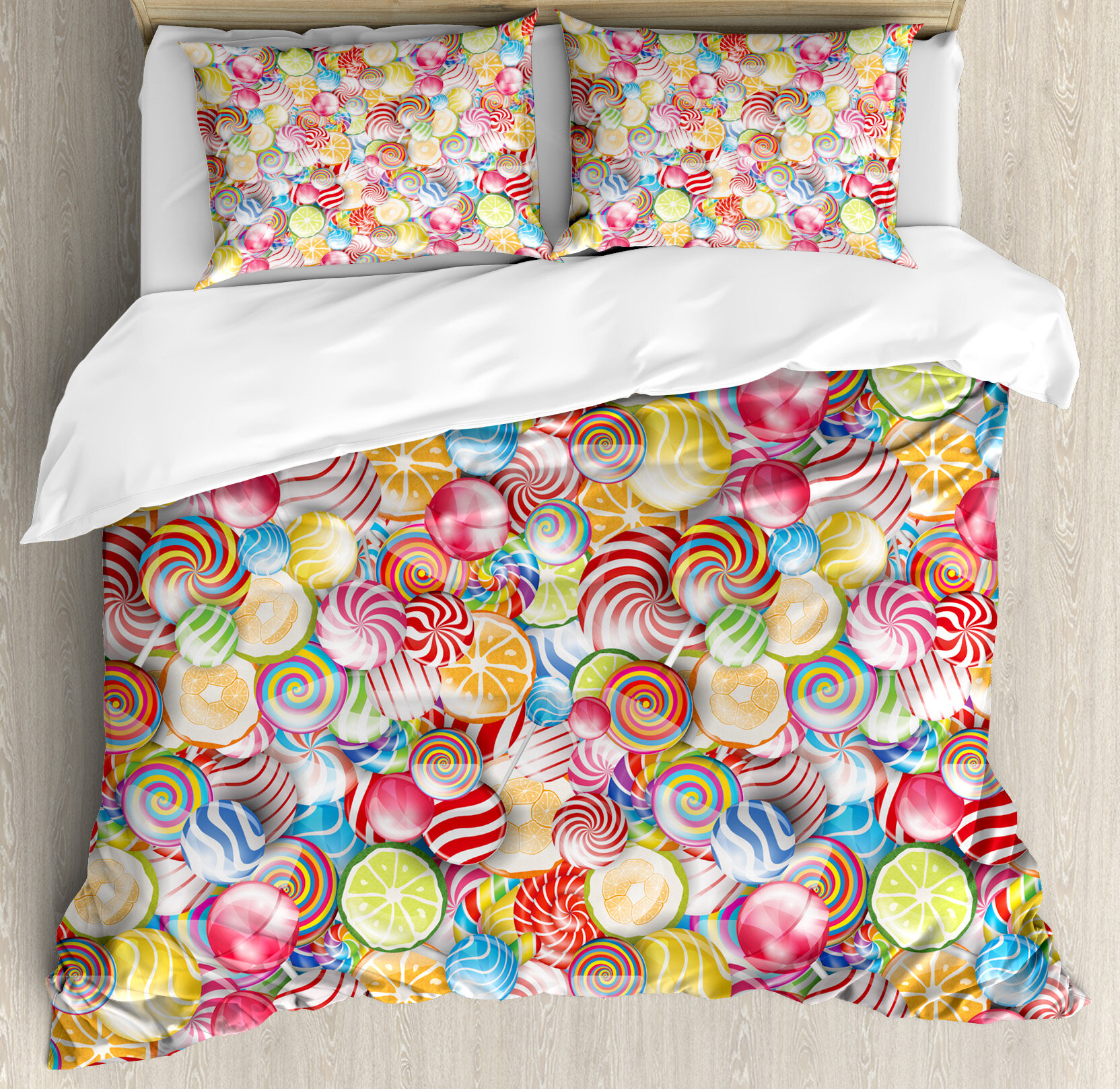 Ambesonne colorful home spiral sugar candy sweets lolly pops dessert fun kids nursery theme duvet cover set wayfair