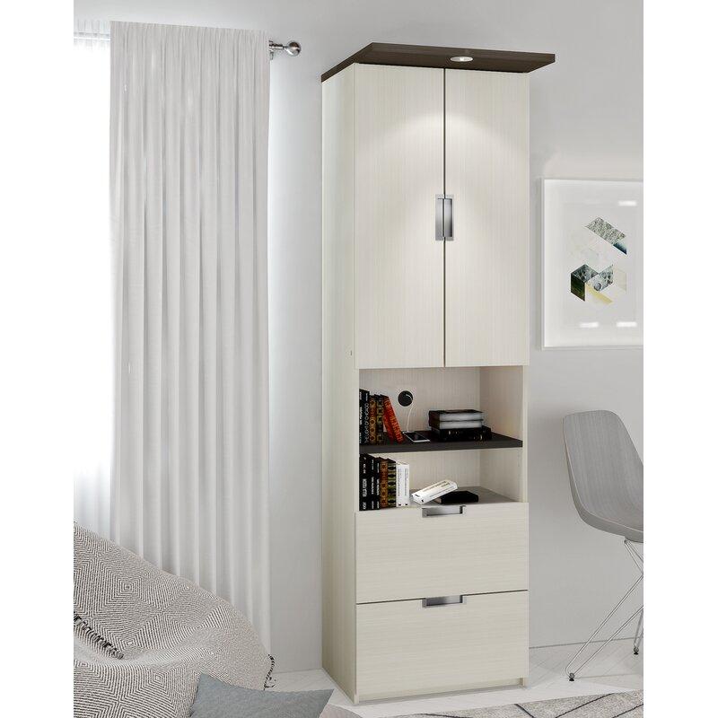 """Latitude Run Juniper 23.5"""" Storage Unit with Drawers and Doors  Finish: White Chocolate/Dark Chocolate"""