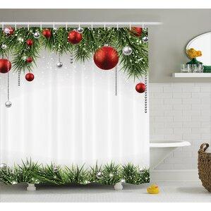 Christmas Tree Balls Ornaments Shower Curtain