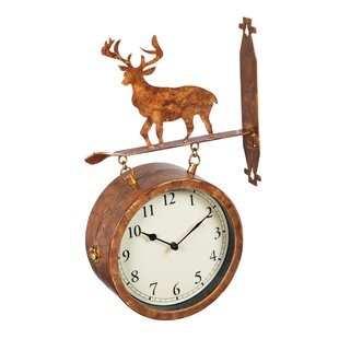 fressia 2 sided outdoor wall clock and thermometer with deer icon - Outdoor Clock Thermometer