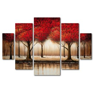 Captivating U0027Parade Of Red Treesu0027 Framed 5 Piece Set On Canvas