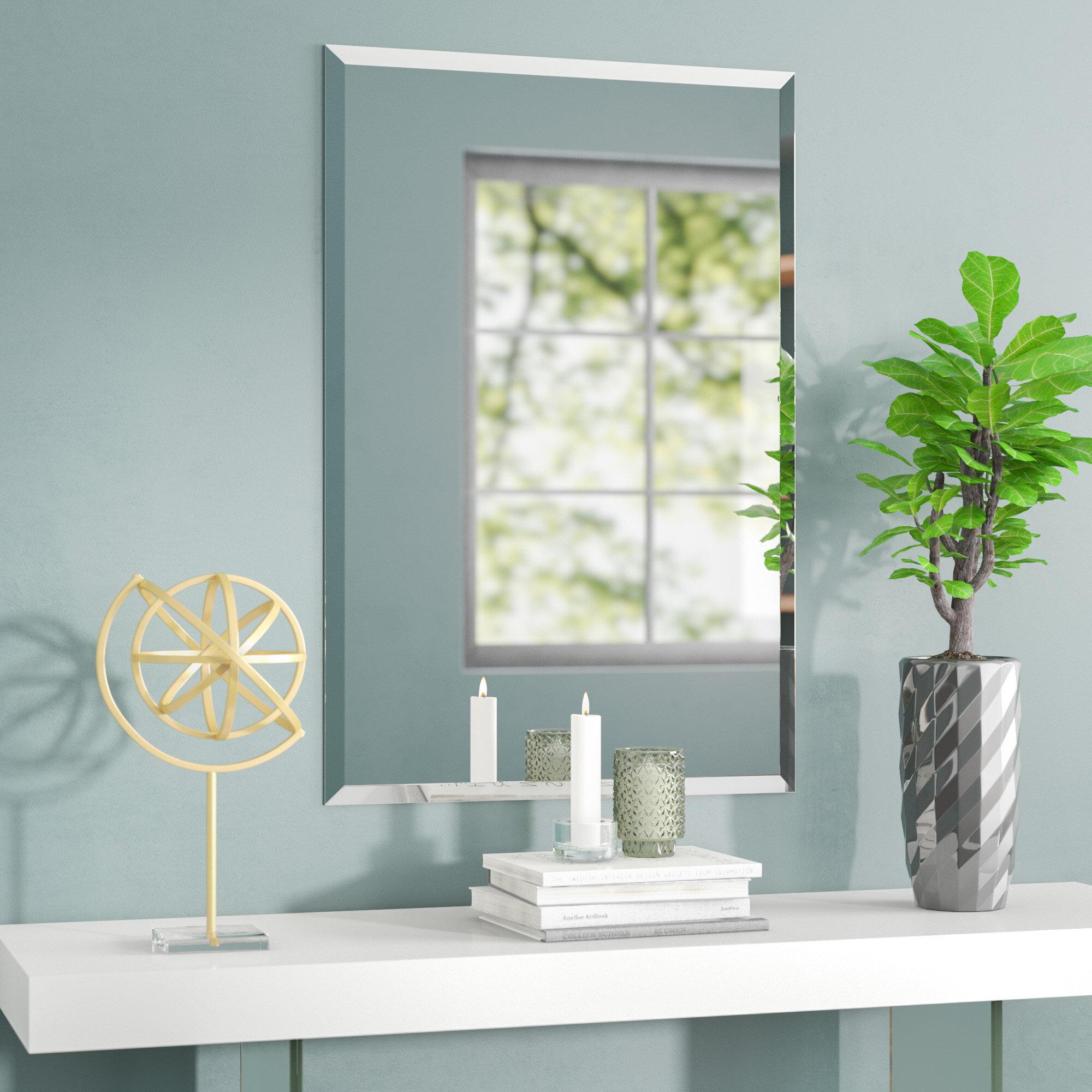 Orren ellis provost frameless rectangle wall mirror reviews wayfair