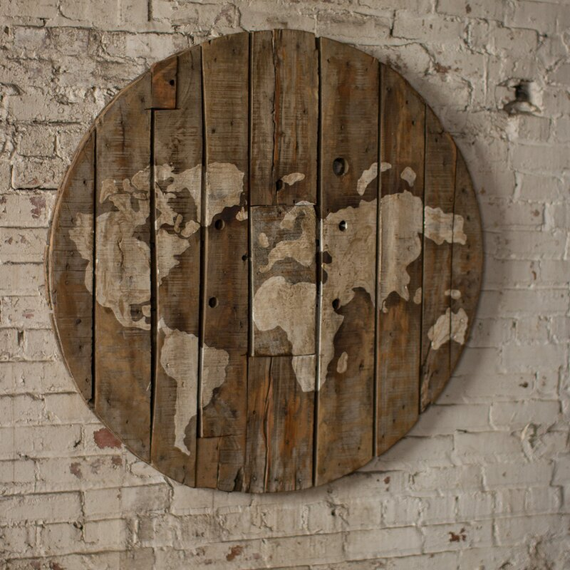 Bungalow rose repurposed wooden spool world map wall dcor wayfair repurposed wooden spool world map wall dcor gumiabroncs Image collections