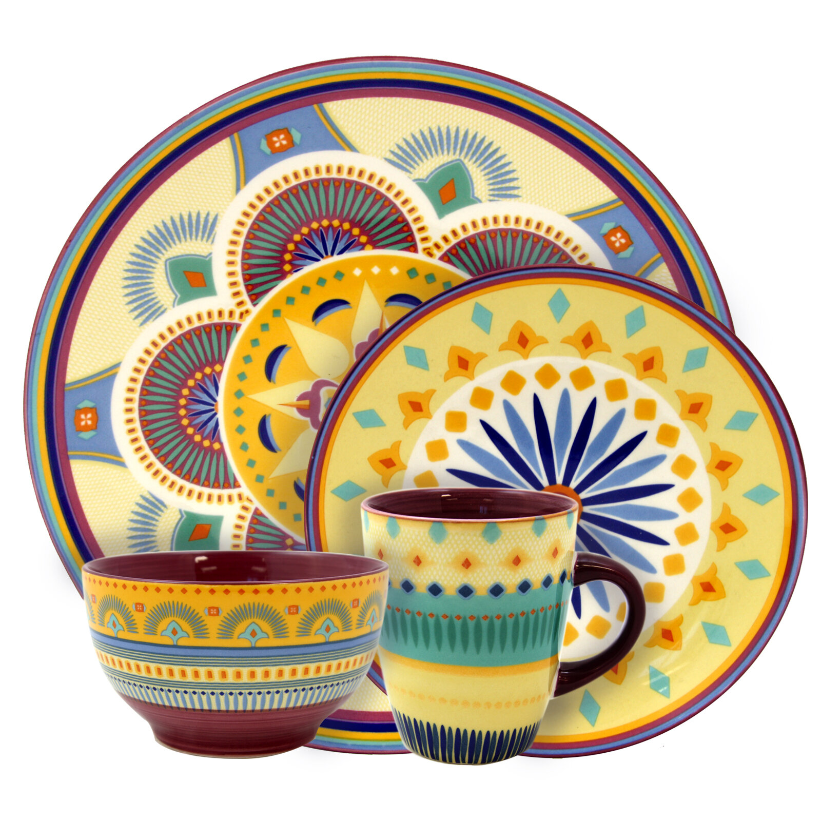 Bloomsbury Market Perkins Stoneware 16 Piece Dinnerware Set Service for 4 u0026 Reviews | Wayfair  sc 1 st  Wayfair & Bloomsbury Market Perkins Stoneware 16 Piece Dinnerware Set Service ...