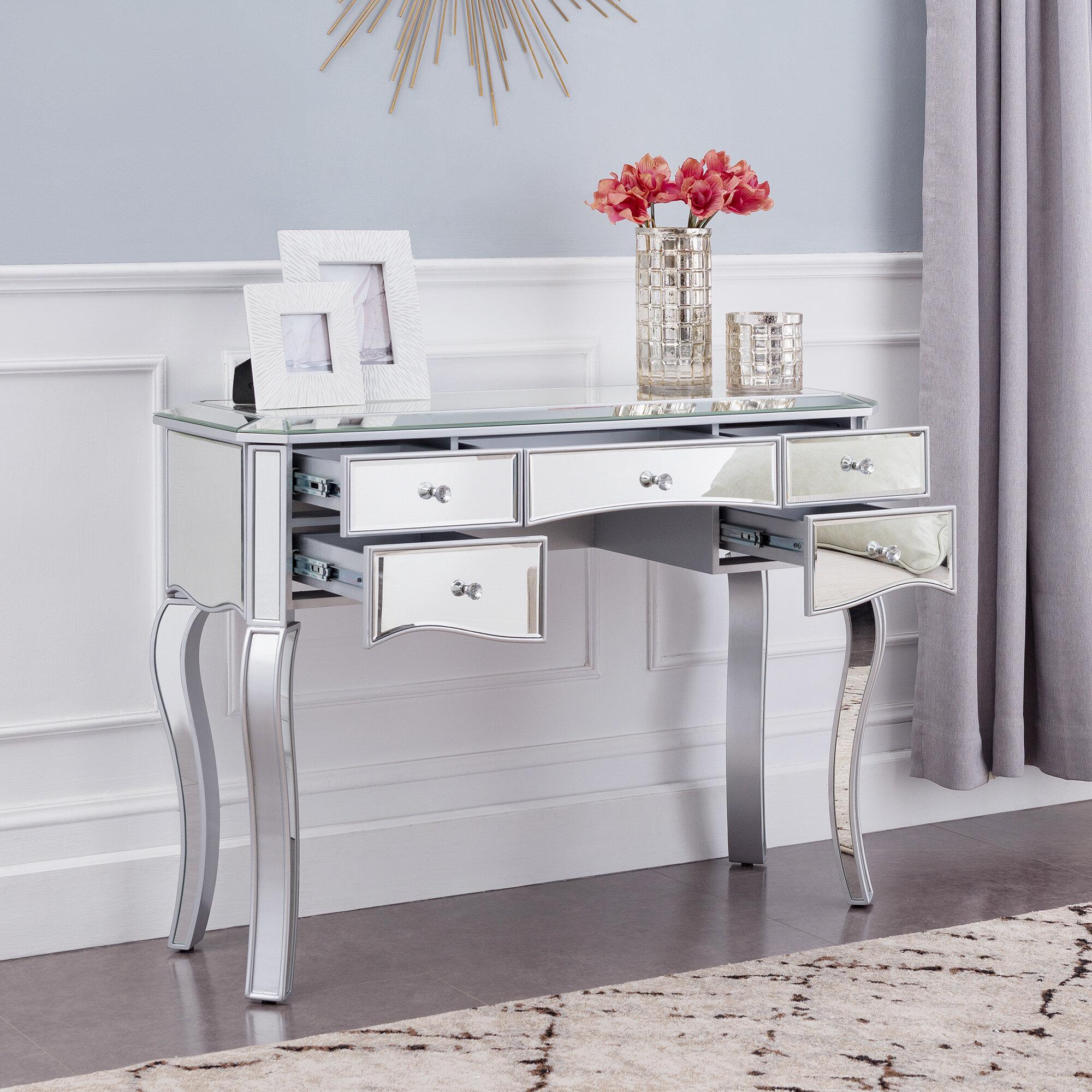 Charmant Moyne Mirrored Glass Desk