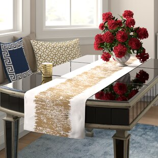 Silverman Cotton Metallic Banded Design Table Runner