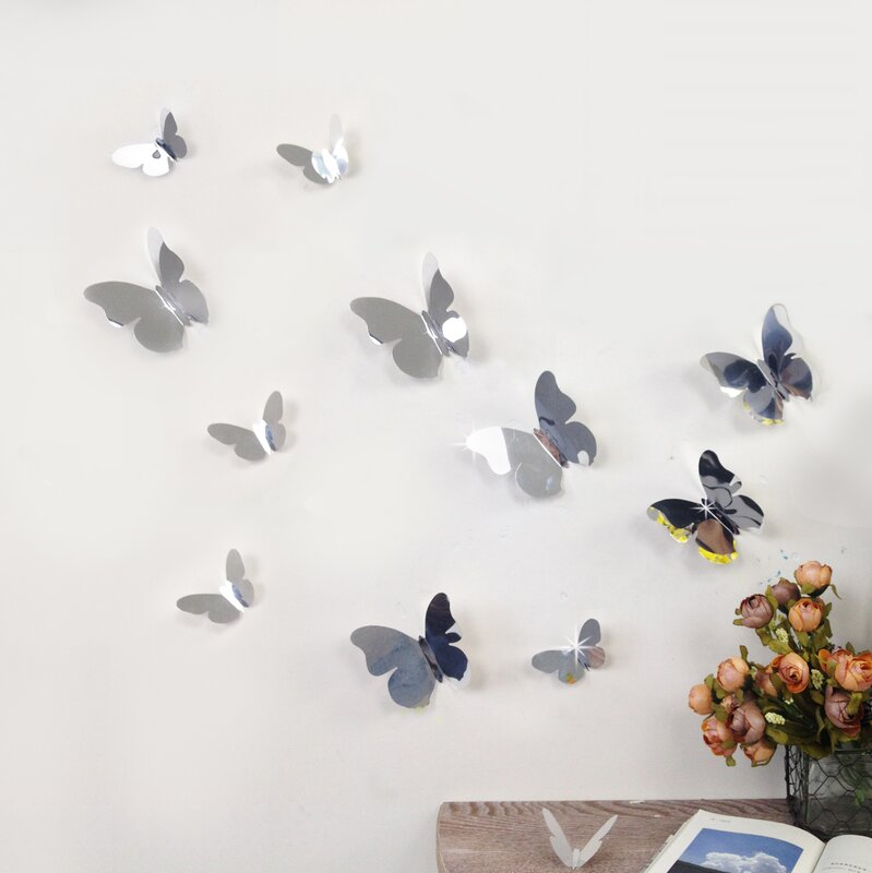 Walplus D Mirror Butterflies Wall Decal Reviews Wayfair - Butterfly wall decals 3d