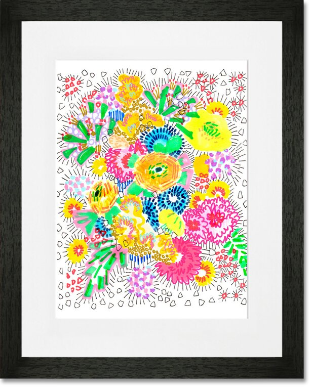 Oopsy Daisy \'Floral Burst\' Framed Wall Art | Wayfair