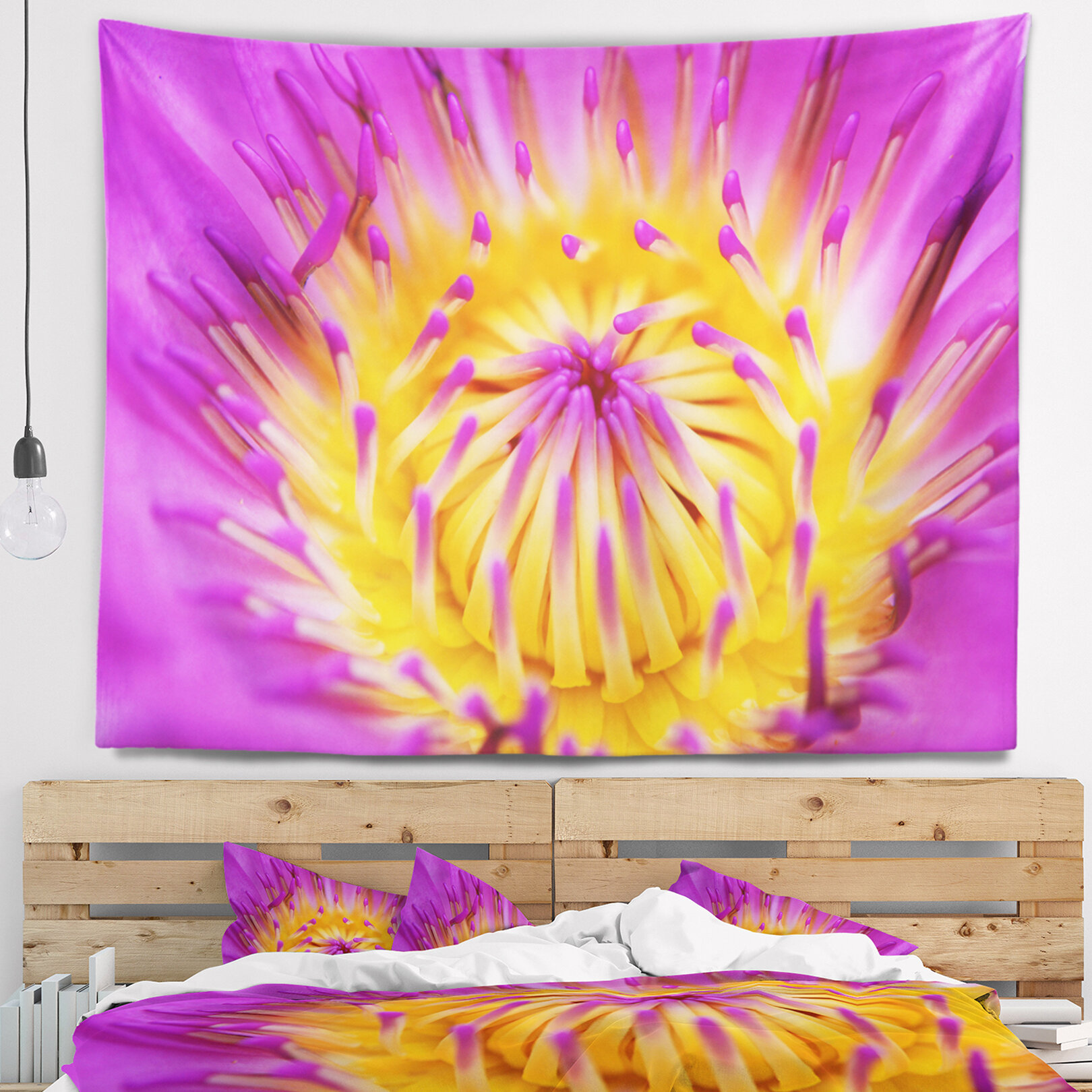 East Urban Home Pink Yellow Abstract Lotus Flower Tapestry and Wall ...