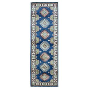 Buy Evan Kazak Oriental Hand-Woven Wool Blue Area Rug!