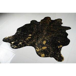 alverson metallic cowhide hand woven goldblack area rug