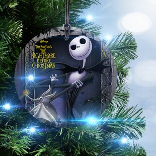 nightmare before christmas jack and zero hanging glass ornament - Jack Skellington Christmas Tree