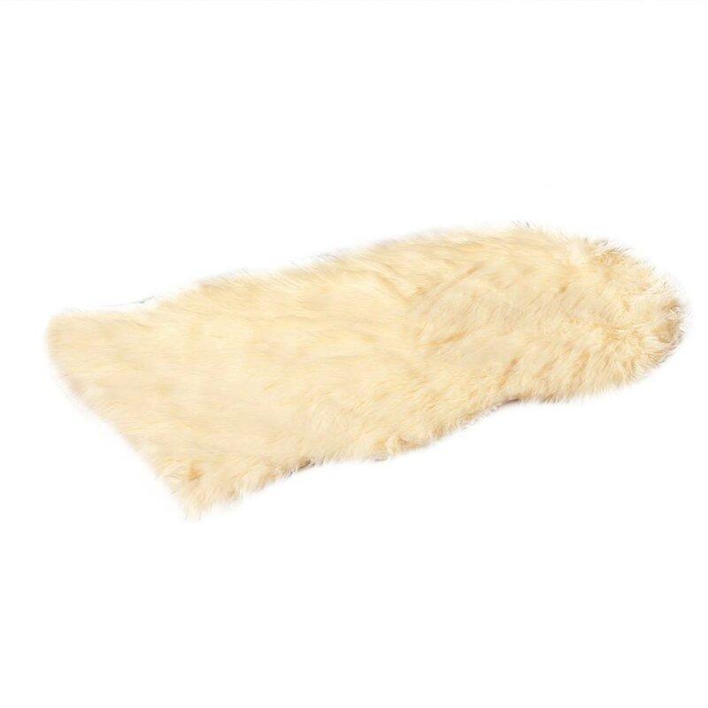 De Moocci Faux Fur Beige Area Rug & Reviews