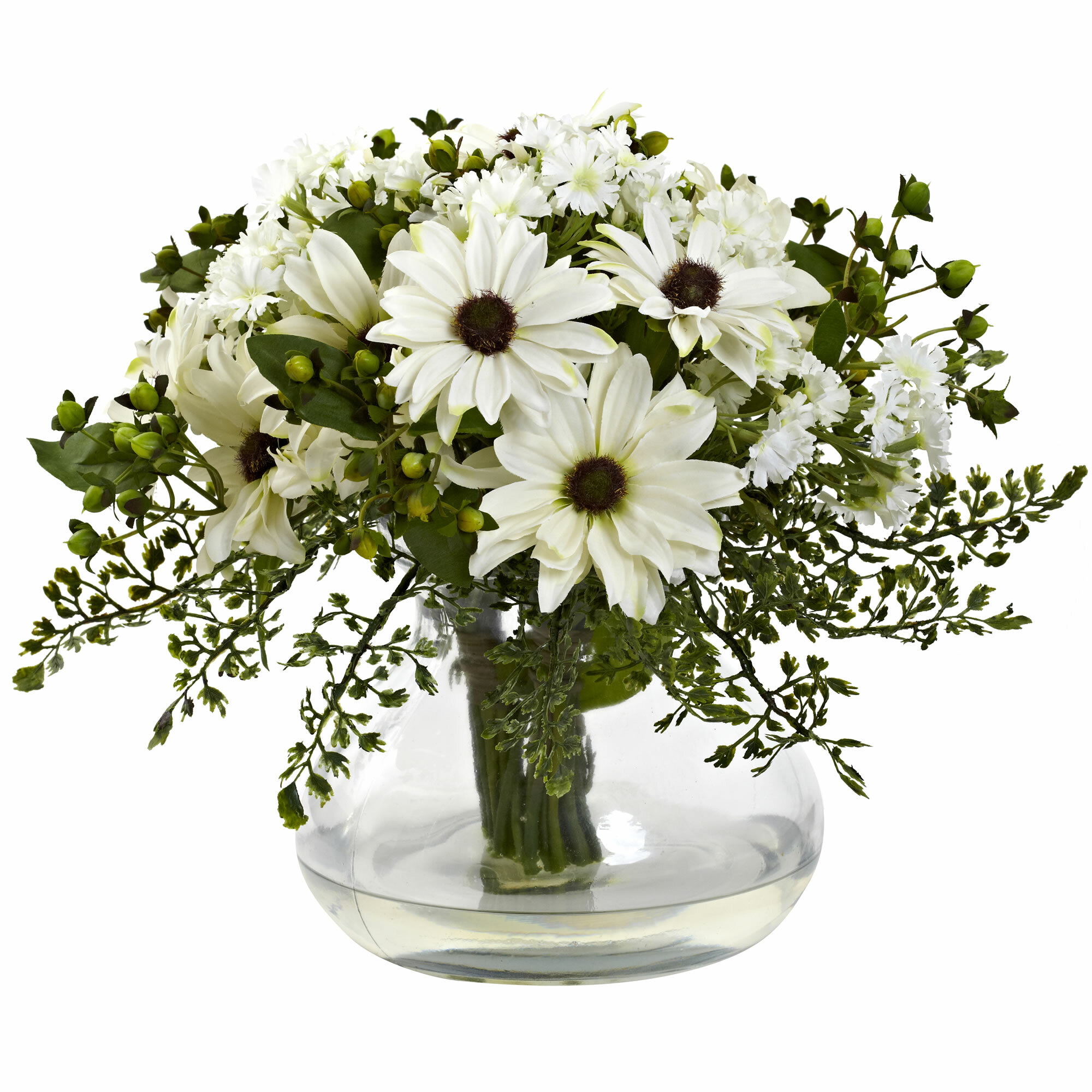 August grove mixed daisy floral arrangement in vase reviews wayfair izmirmasajfo