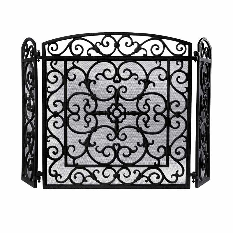 Charmant Fancy Flames 3 Panel Iron Fireplace Screen