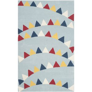 Party Time Hand-Loomed Blue/Red Area Rug