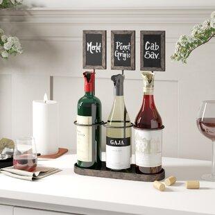 Delong Chalkboard 3 Bottle Tabletop Wine Rack