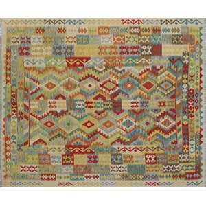 One-of-a-Kind Kilim Alia Hand-Woven Ivory Area Rug