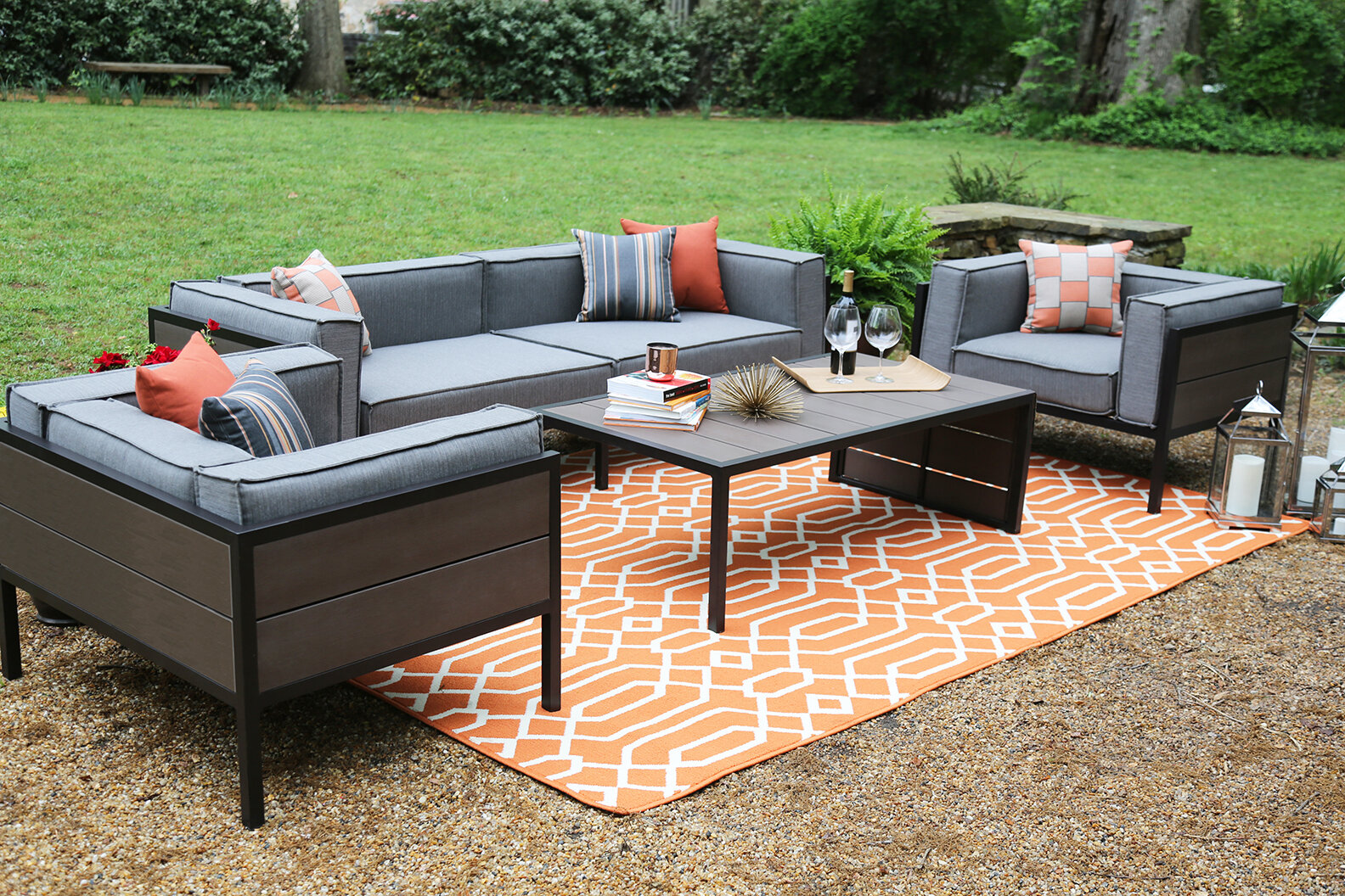 Ordinaire AE Outdoor Manhattan 4 Piece Sunbrella Sofa Set With Cushions U0026 Reviews |  Wayfair