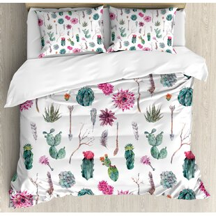 afc0583f75 Cactus Vintage Botanical Pattern Arrows Feathers Succulent Twigs Hawaii  Spring Tropic Duvet Cover Set