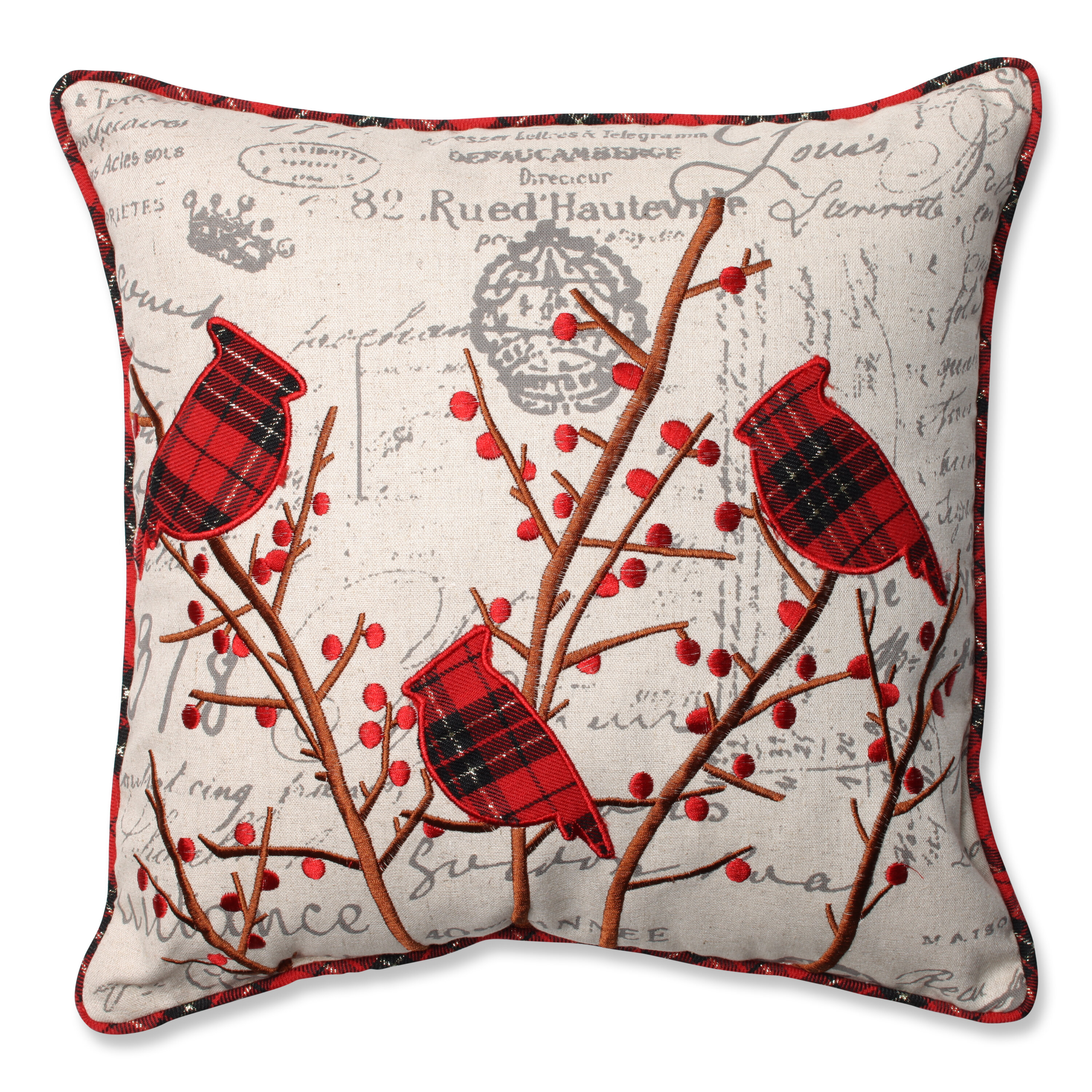 Pillow Perfect Holiday Embroidered Cardinals Throw Pillow ...