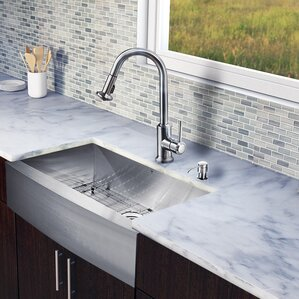 VIGO 30 inch Farmhouse Apron Single Bowl 16 Gauge Stainless Steel Kitchen Sink with Astor Stainless Steel Faucet, Grid, St...