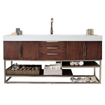 Brayden Studio Whitfield 73 Single Bathroom Vanity Set Base Finish: Coffee Oak