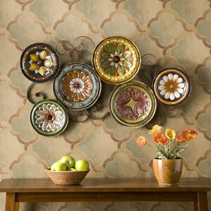 scattered metal italian plates wall dcor