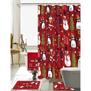 Christmas Bathroom Decor 18 Piece Red Shower Curtain Set