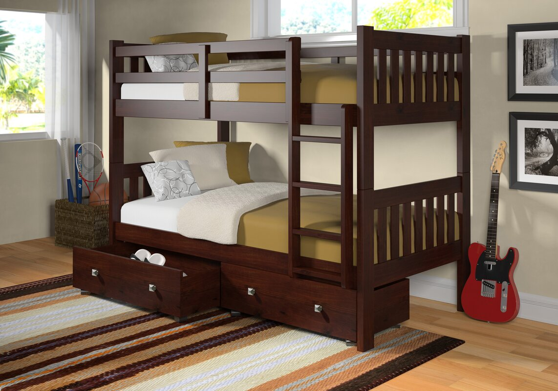 Donco Kids Twin Over Twin Bunk Bed With Storage Reviews Wayfair Ca
