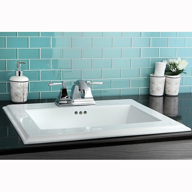 Kingston Brass Concord Ceramic Rectangular Drop In Bathroom Sink With Overflow Wayfair