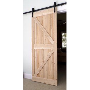 Charmant Wood Finish Barn Door Without Installation Hardware Kit