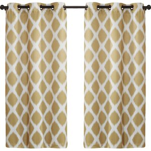 Coley Geometric Room Darkening Grommet Curtain Panels (Set of 2)