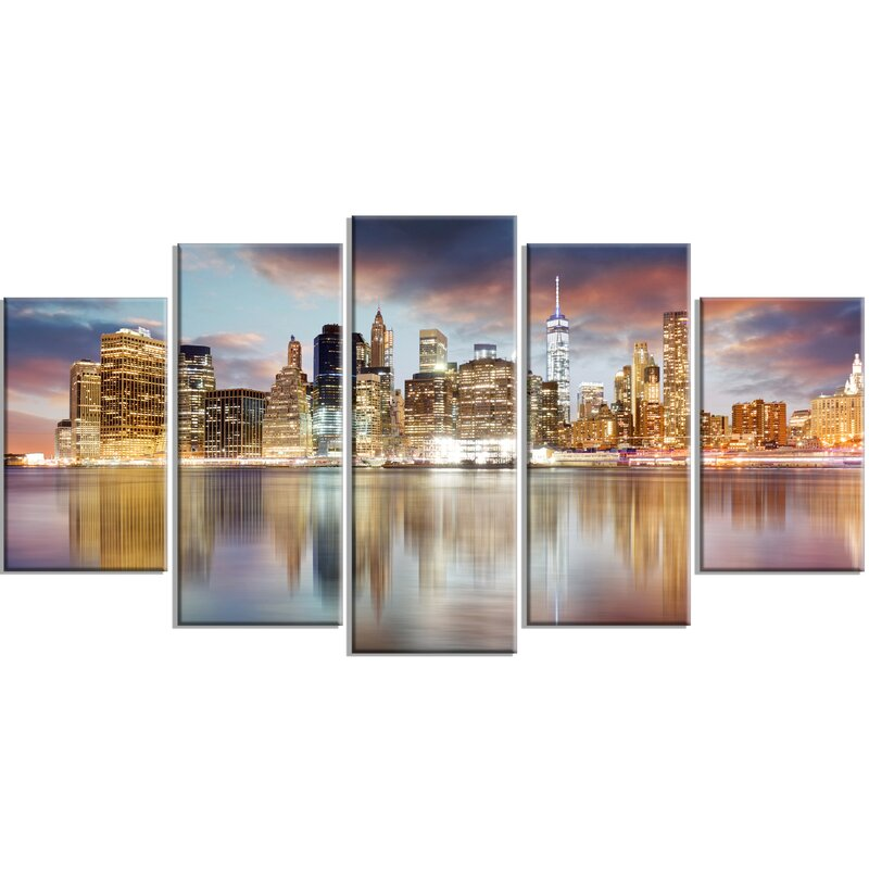 U0027New York Skyline At Sunrise With Reflection.u0027 5 Piece Wall Art On Wrapped.  U0027