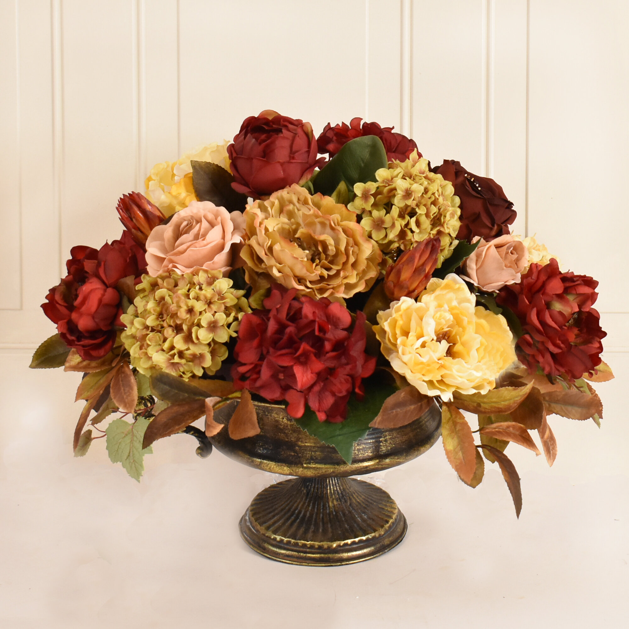 Canora grey large burgundy and gold silk flower floral arrangement canora grey large burgundy and gold silk flower floral arrangement wayfair mightylinksfo