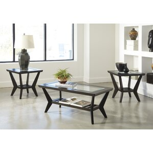 Captivating Woodrow 3 Piece Coffee Table Set In Brown